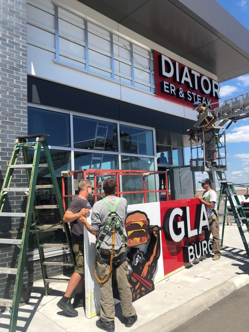 Gladiators Burger and Steak illuminated channel letters by Sign  A Rama Toronto
