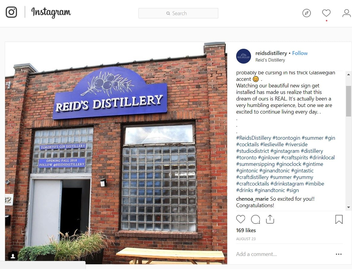 Reids distillery custom sign instagram
