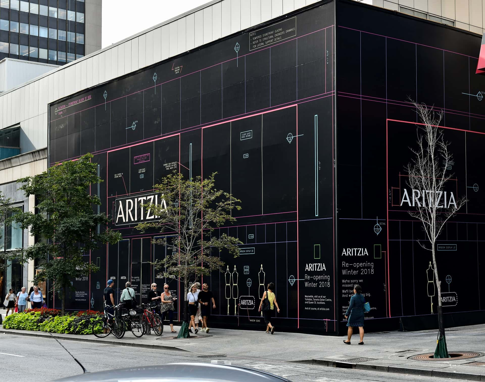 large banner installation by Signarama Toronto for Aritzia