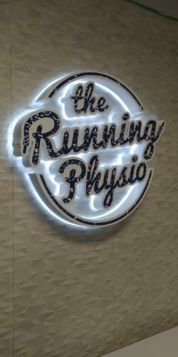 minRunning Physio - halo illuminated reception sign-3